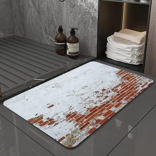 La Alfombra de baño es Suave y cómoda, Absorbente, Antideslizante,Antigua muralla de ladrillo Rojo Vintage con Fondo de Textura de Yeso Blanco espolvoreaApto para baño, Cocina, Dormitorio (50x80 cm)