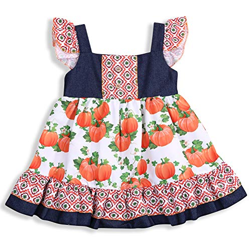 Infant Toddler Baby Girls Princess Party Pageant Dress Elegant Cartoon Pumpkin Ruffles Halloween Clothes for Kids (Fly Sleeve Dress, 3-4 Years)