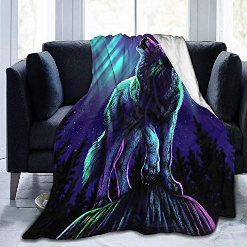 Throw Blanket Wolf with Northern Lights Ultra-Soft Micro Fleece Blanket Wolf with Northern Lights Blanket Lightweight Blanket 80'X60'