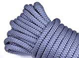Nylon Utility Rope - Polypropylene Outer Sheath - for Cargo, Crafts, Tie-Downs, Marine, Camping, Swings, Hiking - Charcoal 100 Feet