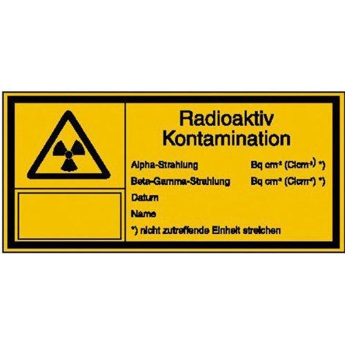 INDIGOS UG - Strahlenschutz Radioaktiv Kontamination Warnschild, selbstklebende Folie - 14,80x7,40 cm, für Büro, Werkstatt, Armee, Labor
