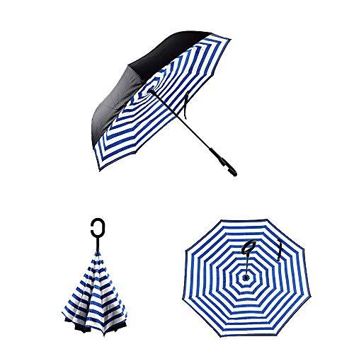 OAUSTAR umgekehrten Regenschirm, Regenschirm winddicht, Reverse Regenschirm, Regenschirme für Frauen, Mann mit UV-Schutz, Schirm mit C-förmiger Griff auf den Kopf. (Stripe Zebra)