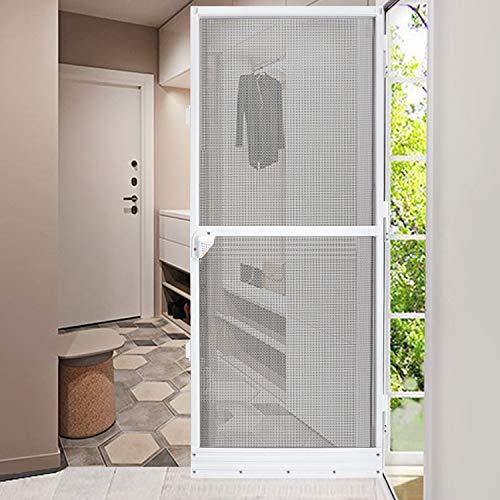 Fliegengitter Insektenschutz bis max. 95 x 210 cm für Tür mit Fiberglasgewebe, Fliegengittertür 100 x 210 cm mit Alurahmen in Weiß