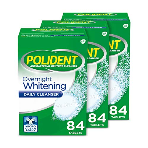 Polident Overnight Whitening Denture Cleanser Effervescent Tablets, 3x84 count