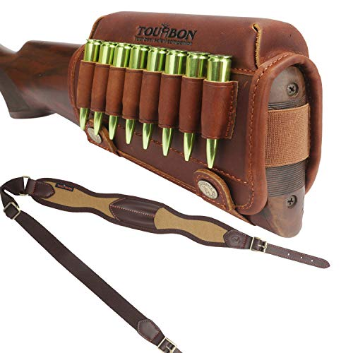 TOURBON Leather Cheek Pad Rifle Stock Ammo Holder and Strap