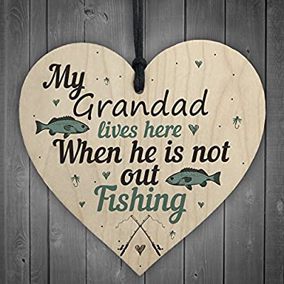 RED OCEAN Grandad Lives Here CARP Fishing Wooden Sign Plaque Fathers Day Dad Gift Gone Fishing Birthday Present by Red Ocean