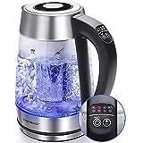 Aigostar Glas Wasserkocher 2-in-1 Teekocher mit Teesieb, 2200W 1.7L, Temperatureinstellung 60°-100°C Farbwechsel LED Beleuchtung, 120 Minuten Warmhaltefunktion, BPA-Frei