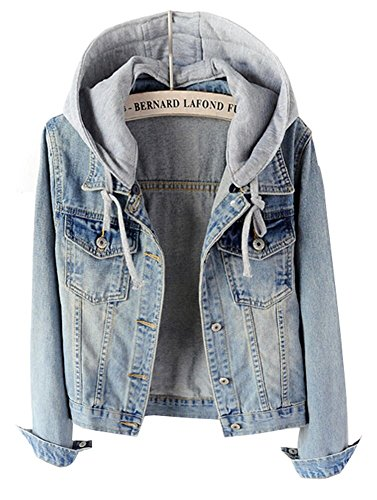 Womens Casual Light Blue Detachable Hoodie Denim Jacket