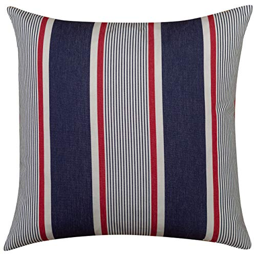 Linen Loft Nautical Striped Extra Large Filled Cushion. Striped Indigio Denim Navy Blue with Marine Red. 23' Square Cover. 100% Cotton. Deckchair Style. (Feather filled)