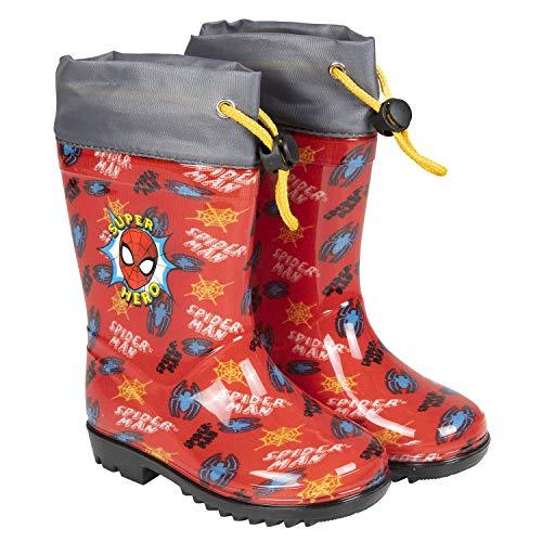 Botas de Agua Niños Spiderman - Botines Impermeables Infantiles Oficial Marvel Spider Man Hombre Araña - Suela Antideslizante y Cierre Cordón - Rojo y Gris - 5 Tallas - Perletti (Rojo, 26/27 EU)