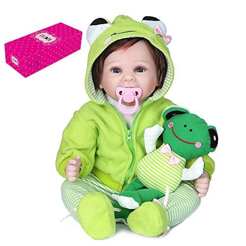 Duotar Boneca Reborn,Reborn Baby Doll 22 polegadas 55 cm Sweet Face Realistic Touch Soft Touch Conjunto de presentes de aniversário de baby dolls com roupa de sapo verde