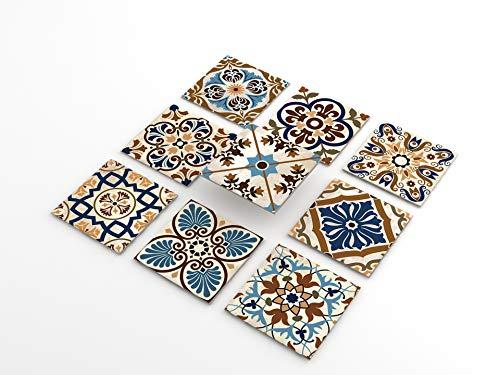 Tink Pegatinas de PVC para azulejos, cocina, baño, superficies de madera, escaleras (10 x 10 cm, 20 unidades, diseño Morokko)