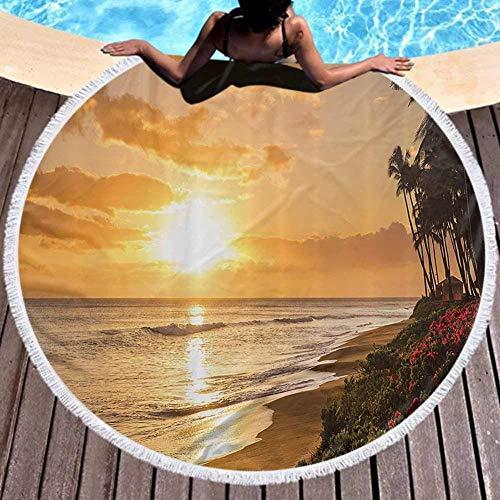 W-wishes Toallas de Playa Redondas de Microfibra Watropical Sun Sands of Kaanapali ACH en Maui Hawaii Destinati, Secado rápido y Absorbente