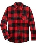 Spring&Gege Camicia da Ragazzo a Maniche Lunghe in Flanella Button Down Shirt a Quadri per Bambini, Rosso Bordeaux Nero, 7-8 Anni