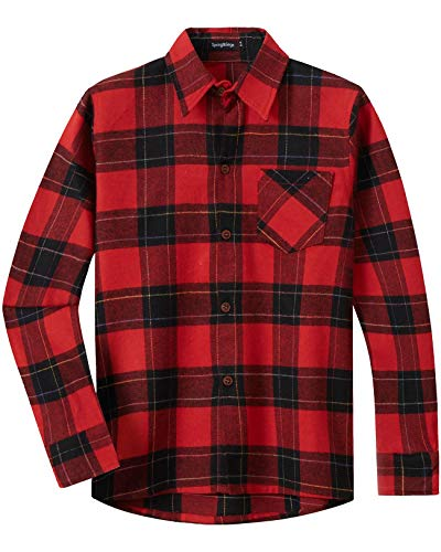 Spring&Gege Jungen Langärmliges Kariertes Button-Down Flanellhemd für Kinder, Rotwein rot schwarz, 140-146