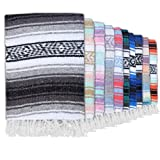Authentic Mexican Blankets - Traditional Handmade Woven Throw Blanket - Perfect for Yoga, Beach, Home Decor, Camping, (Grey)