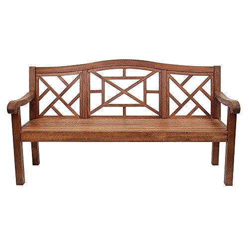 achla outdoor benches Achla Designs OFB-19N Carlton Bench Eucalyptus Garden Bench, Natural, 6 foot