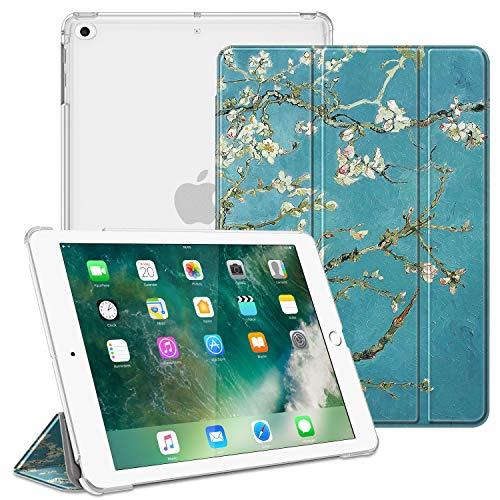 FINTIE Funda para iPad 9.7 (2018 2017), iPad Air 2, iPad Air - Trasera Transparente Carcasa Ligera con Función de Soporte y Auto-Reposo Activación, Flores