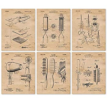 Vintage Hair Styling Tools Patent Poster Prints Set of 6  8x10  Unframed Photos Wall Art Decor Gifts Under 20 for Home Garage Office Studio Salon Student Teacher Cosmetology & Fashion Fan