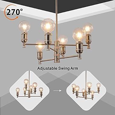 VINLUZ Rustic Ceiling Chandelier 6 Lights Brushed Nickel Sputnik Light Modern Pendant Lighting for Foyer Hallway Dining Room