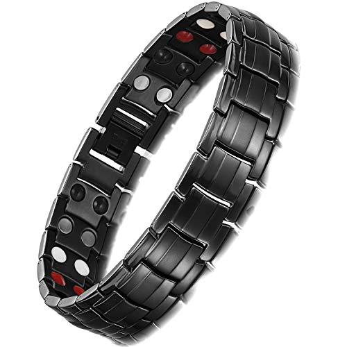 Rainso® Herren Armband Edelstahl Magnetische Armband, 4 Elements magnetische Armband für Männer mit Klappschließe, Leistungsstarke 3000 Gauß Magneten, und gratis Geschenk Beutel