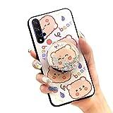 Langlebige, stoßfeste Lulumi Handyhülle für Huawei Honor 20/20s/Nova 5t, stilvolle Bumper Phone Stand Halter Stressreduzierende Schutzhülle Soft Hülle Anti-Knock Cartoon für Mädchen TPU Orange Bär
