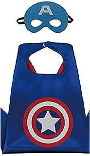 Honey Badger Brands Dress Up Comics Cartoon Superhero Costume with Satin Cape and Matching Felt Mask, Captain America