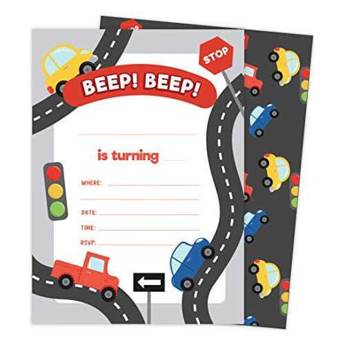 Car Style 2 Happy Birthday Invitations Invite Cards (10 Count) With Envelopes Boys Girls Kids Party (10ct)