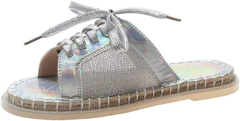 XAFXAH Sandalen Damen Sommer,Damen Sandalen Sommer Elegante Wild Rmischen Silber Schuhe Casual Komfortable Spitze Sandalen