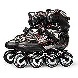 ME-Rollerns Professional Slalom Patines en línea Zapatillas de Patinaje sobre Ruedas de Fibra de Carbono Patines de Patinaje Libre deslizantes Black 38
