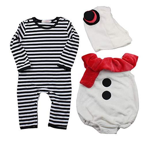 EOZY Conjunto de Ropa de Disfraz Bebé Recién Nacido Chaleco Mono Gorro Muñeco de Nieve Invierno Talla 95/12-18...