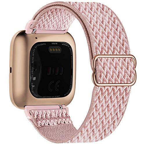 Fengyiyuda Nylon Correa Compatible con Fitbit Versa 2/Versa/Versa Lite/Versa SE,Elástico Bandas Suaves para Relojes Inteligentes, Seporte Hebillas Ajustables,correas de repuesto,Rose Pink