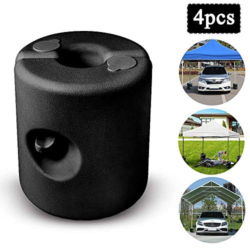 4 pcs Gazebo Stand Water/Sand Fillable Stabilisation Awnings Foot Stands Weights Base for Garden Parasols Tent Cranks Gazebos Poles(Black)