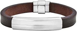 Geoffrey Beene Men's Genuine Leather Bracelet with Stainless Steel ID Plate and Magentic Closure