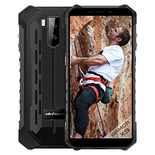 Ulefone Armor X9, Android 11 4G Rugged Smarphone con 3GB RAM+32GB ROM Octa-core,5000mAh Batteria,13MP+2MP,IP68 IP69K telefono Impermeabile NFC GPS OTG Dual SIM Nero