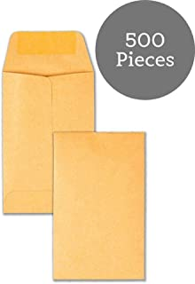 #1 Coin and Small Parts Envelope with Gummed Flap for Home or Office Use, 28 lb. Brown Kraft, 2-1/4 x 3-1/2, 500 per Box BamBam Supplies