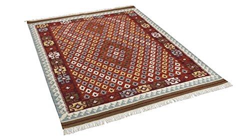Natur Teppich Kelim Sumak Rot Bordüre in 7 Größen
