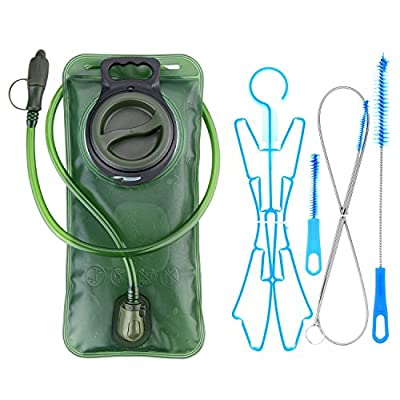 WADEO Hydration Bladder 2 Liter Leak Proof Water Reservoir/Cleaning Kit, BPA Free Hydration Pack Replacement, Military Class Quality, Wide-Opening,Shutoff Valve, Best for Hiking,Cycling,Climbing