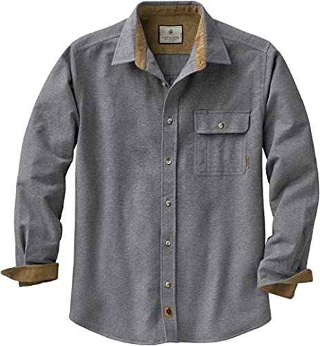 Legendary Whitetails Men's Size Buck Camp Flannel Shirt, Charcoal Heather, Large Tall