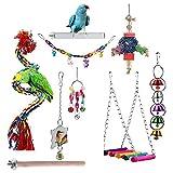OVBBESS Bird Toys Loro Swing masticar juguete loro, guacamayo, pájaro amor, loro alado juguete jaula accesorios