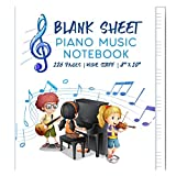 """iVideosongs Wide Staff Blank Piano Sheet Music • 8"""" x 10"""" Composition Notebook for Kids • 6 Extra Large Sized Staves Per Page • 126 Pages"""