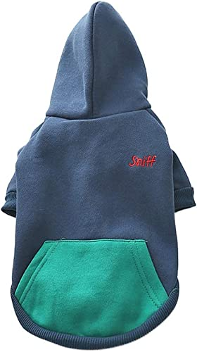 IF.HLMF Pet Coustume Autumn and Winter Thicken Puppy Hoody Sweater Small Medium Dogs Pet Clothes (Farbe   Blau, Größe   L)