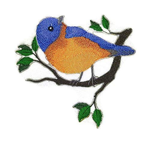 BeyondVision Verbazingwekkende vogels rijk geborduurde ijzeren naaipatches 5 x4.5 grijs, zwart, wit, groen, blauw