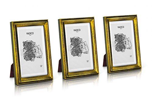 Shabby Chic Bilderrahmen 13x18 cm - 3er Set - Glasfront - mit Passepartout für 10x15 Fotos - 2 cm Rahmenbreite - Echtholz - Gold