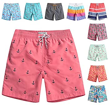 MaaMgic Mens Quick Dry Anchor Swim Trunks with Mesh Lining Swimwear Bathing Suits,Red-glm009,Large