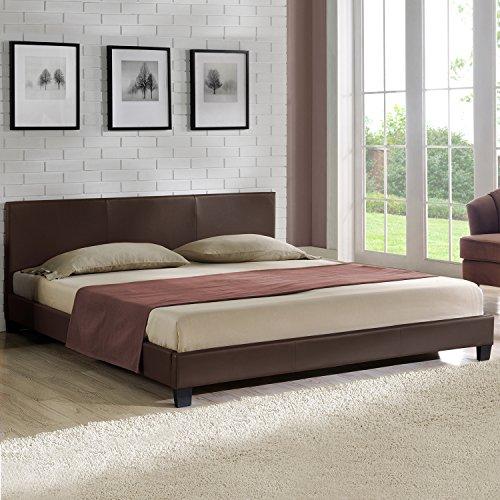 Corium Polsterbett 'Barcelona' (Dunkelbraun)(140x200cm) modernes Bett/Kunst-Leder/mit Stecklattenrost /