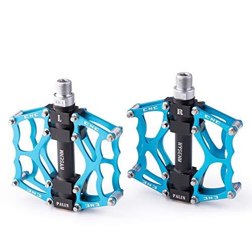HYSENM Pedale di Bicicletta 9/16 Pollici Lega di Alluminio CNC 3 Cuscinetti Duro, Solido Piattaforma Robusta, Antiscivolo MTB BMX DH, Blu, Una Coppia.