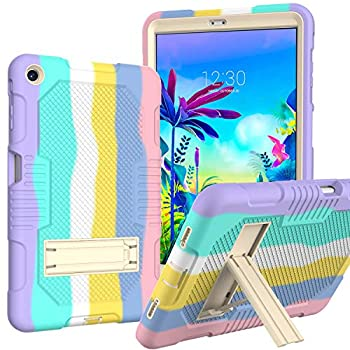 Case for LG G Pad 5 10.1 Inch Tablet Case | AVOAR Case Heavy-Duty Drop-Proof and Shock-Resistant Rugged Hybrid Case with Built-in Stand Case Cover for LG G Pad 5 10.1 FHD  2019  for Kids | Rainbow