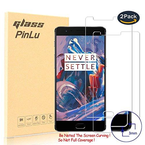 pinlu [2 Pack] Protector de Pantalla de Cristal para OnePlus Three 3 / OnePlus 3T Protector Cristal Vidrio Templado para OnePlus Three 3 [9H/2.5D/0.26mm, 99% Transparente]