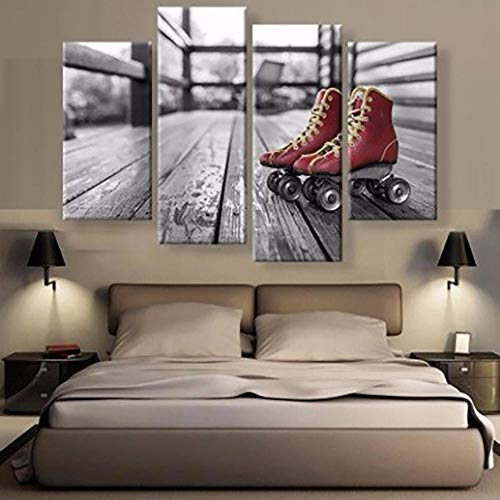 HIUIU Leinwanddrucke Kunst Dekoration Poster Rahmen Wohnzimmer 4 Panel Rollschuhe Bild Wand Hd Gedruckt Moderne Malerei Auf Leinwand